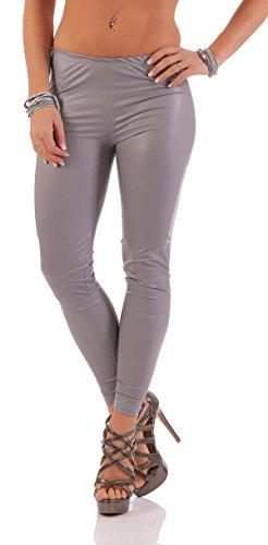 AE Leggings Metallic Latex Wet Look Lack Leder Optik Gr. S M L XL XXL 3X 4XL, 1905 Grau matt M/38