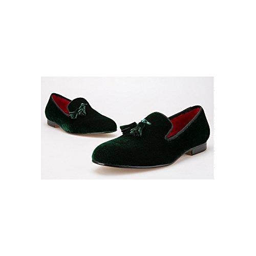 Homme Mocassins De Mode Velours à Enfiler Frange Chaussures Vert foncé