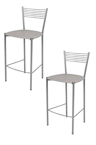 Tommychairs 2er Set Moderne Barhocker Elegance - robuste, lackierte Metallkonstruktion in der Farbe Aluminium, gepolsterte Sitzfläche mit Kunstleder im Farbton Hellgrau bezogen -