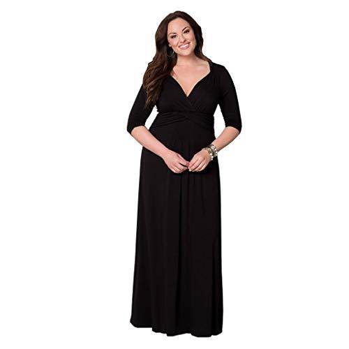 LOPILY Abendkleider Langes Kleider Damenmode Einfarbig V-Ausschnitt Unregelmäßiger Ärmel Strandkleid Partykleid Plus Size Hoher Taille Elegante Party Maxikleid(X1-Schwarz,EU-40/CN-XL)