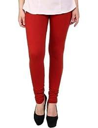 Mek Orange Womens Cotton Leggings Comfortable Stylish Girls Leggings Chudidar Full Length Women Leggings (red)