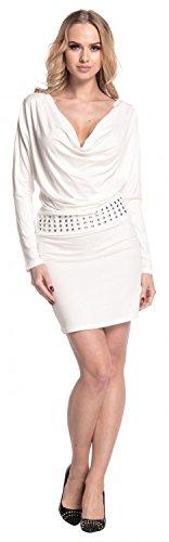 Glamour Empire. Femme. Robe moulante avec col bénitier plongeant drapé. 916 Blanc Cassé
