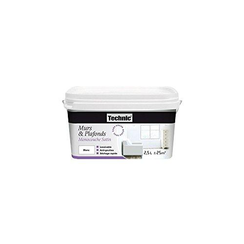 Peinture - mur et plafond - acrylique - monocouche -satin - blanc - 2.5 L