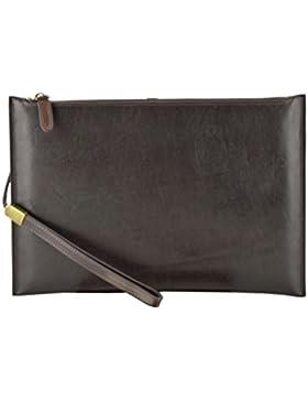 Echtes Leder Clutch Farbe Dunkelbraun - Italienische Lederwaren - Herrentasche