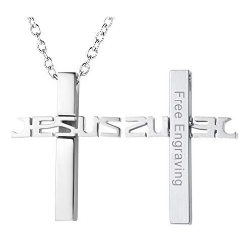 skette aus Edelstahl mit Jesus-Kreuz Anhänger Saint Michael Herrn Schmuck Silber Sterling, Namensgravur gravierbar persoenlich Namen ()