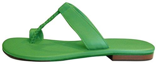 11sunshop Sandali di Cuoio Modello GHOZI di Progettazione in 33-44 Green