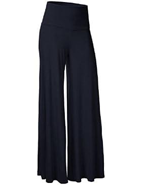 FuweiEncore Pantalones para Mujer Pantalones Grandes de Gran Tamaño Cintura Larga Alta Cremallera con Patas de...