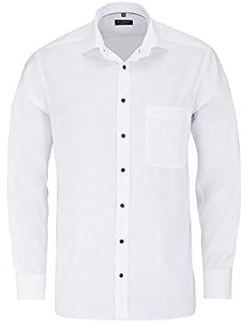 ETERNA Comfort Fit Hemd Langarm mit New Kent Kragen Struktur weiß