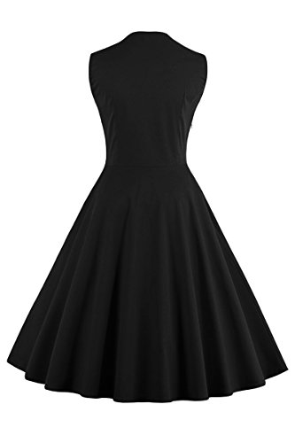 yming Damen 1950 Vintage Polka-Button Retro Audrey Hepburn Swing Rockabilly Party Kleid, 4 x l Schwarz-Blumen