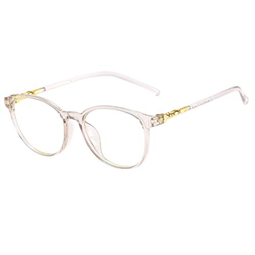 REALIKE Unisex Brille Klassische Flacher Spiegel Runder Rahmen Brillengestell Brille Elegant Brillengestell Aus,Anti-Blaulichtbrille, (Farbe : Rosa, Blau, Grau, Schwarz, Gelb)