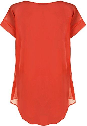 WearAll - Damen Chiffon Tauchen Saum Pur Kurz Hülle Ebene Lang Top - 3 Farben - Größe 44-56 Rot