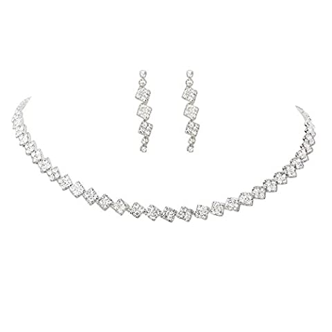 Rosemarie Collections Women's Square Pattern Crystal Strand Necklace Jewelry Set