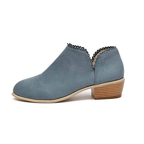 Botines Mujer Invierno Bloque Tacones Botas de Tobillo para Dama Moda Casual Elegante Zapatos Punta Redonda Negro Azul Rosado 35-43 GR40