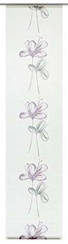 GARDINIA Panneau Japonais (1 Pièce), Opaque, Tissu Lavable, Motifs Fleurs, Blanc/Mauve, 60 x 245 cm (LxH)