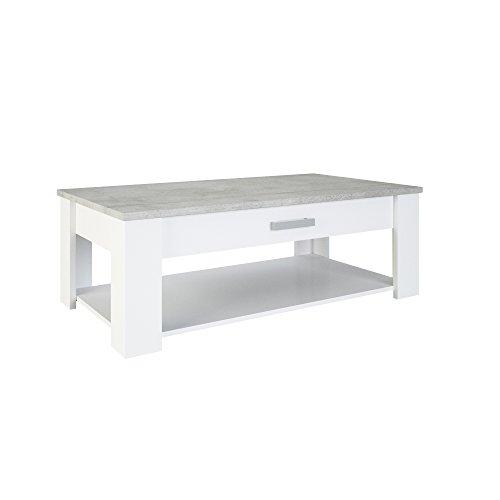 Demeyere Floride Table Basse, Bois, Blanc/Béton, 120,3 x 64,7 x 40,9 cm