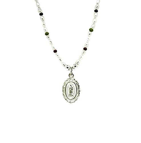Kokomorocco Collar Medalla Virgen de Guadalupe de Plata de Ley, Perlas cultivadas de Agua Dulce y chaquiras de Colores, Regalo comunión, Regalos Originales para Mujer o niña