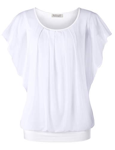 BAISHENGGT Damen Falten Kurzarm Tunika Batwing Rundkragen Bluse Reine Weiß X-Large