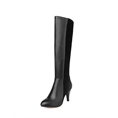 AgooLar Damen Hoher Absatz Blend-Materialien Knie Hohe Stiefel Schwarz