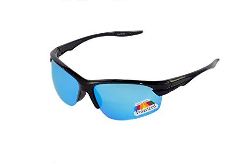 rainbow safety Kinder Sportbrille Sonnenbrille Polarisiert 8+ Jahre UV400 Schutz 3302 Schwarz verspiegelt Eis