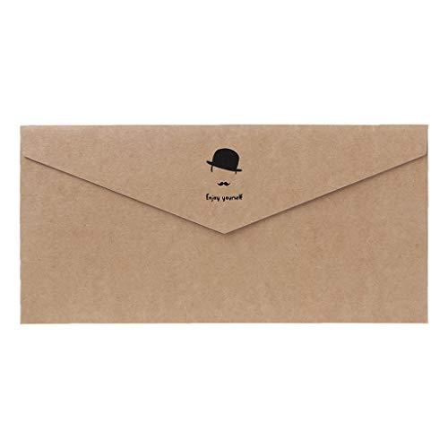 wenjuersty 10pcs Retro Weinlese-Muster-Kraftpapier-Umschläge für Buchstabe-Gruß-Karten-Hochzeitsfest-Einladungen