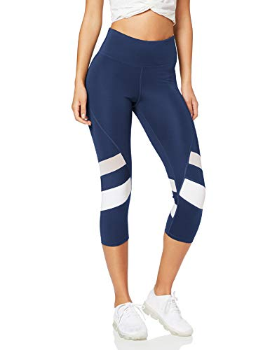 Marca Amazon - AURIQUE Capri Stripe Leggings deporte, Azul (Navy/white), 44 (Talla del Fabricante: X-Large)