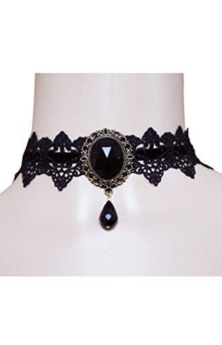 HO-Ersoka Damen Vintage Gothic Halsband Halskette Häkelspitze Glasstein schwarz -