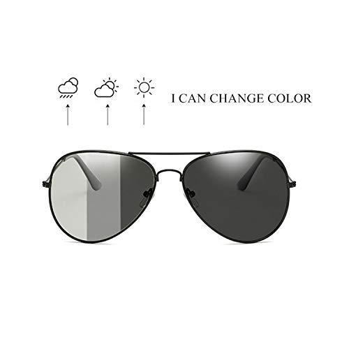 Sportbrillen, Angeln Golfbrille,Men Polarisiert Photochrom Sunglasses For Driving,Discoloration Sun Glasses Vintage Anti-Glare Chameleon Sunglass Goggles S3026 Gun Frame