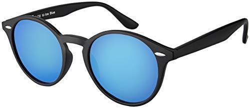 La Optica UV 400 Damen Herren Retro Runde Sonnenbrille Round - Einzelpack Matt Schwarz (Gläser: Hellblau verspiegelt)