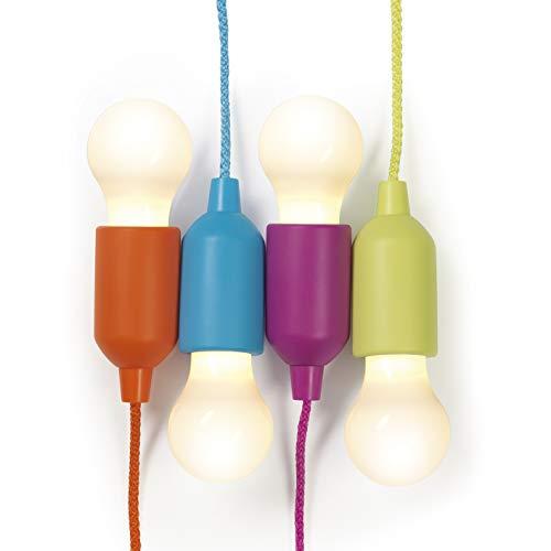 EASYmaxx 09095 LED-Ziehleuchten | 4er-Set, Batteriebetrieben | IDEAL für Laternen, Camping, Garten, Kinderzimmer, Kleiderschrank, Speisekammer, Abstellschrank, Kinderzimmer u.v.m.