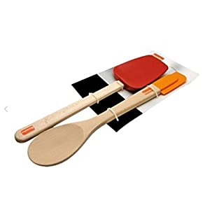 Berndes 1305101 Wooden Spoon and Spatula Utensil Set with Removable Silicone Heads
