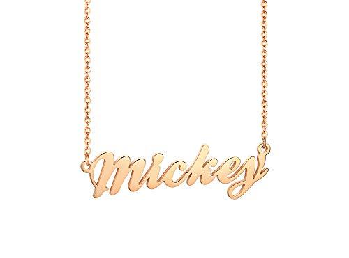 Vnox Personalisierte Benutzerdefinierte Name Rose Gold Überzogener Edelstahl Mit Jedem Namen Monogramm Anhänger 46 cm Kette Halskette für Frauen Mädchen Monogramm Rose