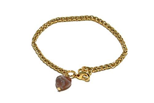 bracciale catena spiga galvanica oro con pendente cuore in pietra dura