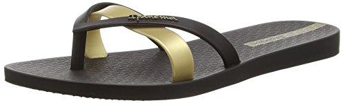 Ipanema Damen Silk Premium Plateausandalen, Schwarz/Gold, 37 EU (Schwarzes Hawaii-fall)