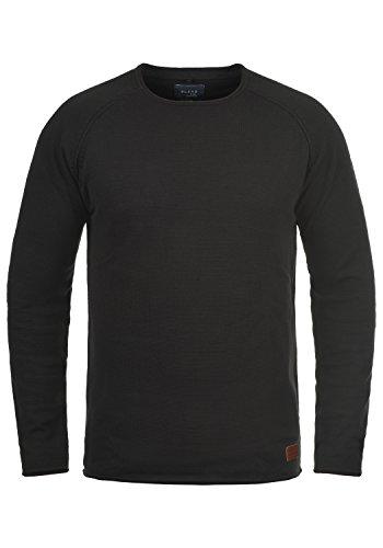 Blend John Herren Strickpullover Feinstrick Pullover mit Rundhals und Melierung aus 100% Baumwolle, Größe:M, Farbe:Black (70155)