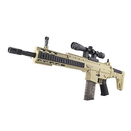 AngryMan Pistola de Agua de Juguete de Batalla de acción en Vivo Scar de simulación de plástico para Adultos, Balas de Cristal de Agua Blanda de Gel de 7-8 mm