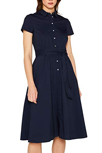 ESPRIT Collection Damen 059EO1E005 Kleid, Blau (Navy 400), Herstellergröße: 36