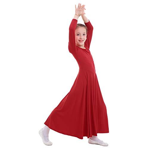 OBEEII Vestito Bambine Liturgico Manica Lunga Asimmetrico Abito da Balletto Ginnastica Body Classico Danza Combinazione Chiesa Preghiera Coro Costume Rosso 9-10 Anni
