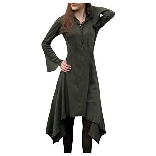 Huacat Damenmode Gothic Kleid Langarm Spitzenkleid Saum Vintage Kleid