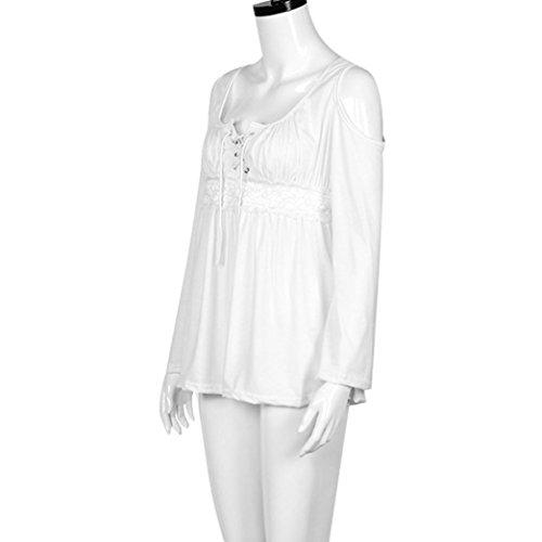 WINWINTOM Damen Blusen T-Shirt, Durchgehend weiß weiß White A