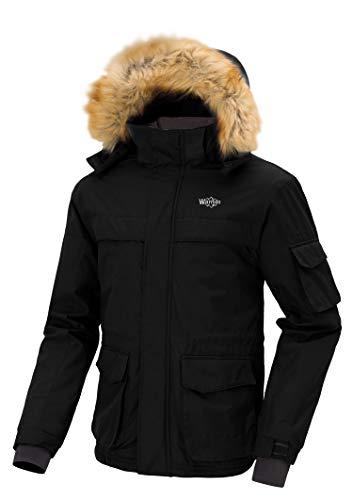 Wantdo Chaqueta de Esquí Impermeable para Hombre con Capucha Desmontable de Invierno Negro Medium