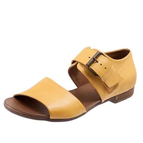 Frauen Open Toe Ausgeschnitten Flache Sandalen verstellbare Schnalle Riemenabdeckung Ferse Sommer Freizeitschuhe