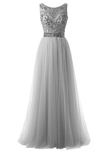 Callmelady Hoher Hals Tüll Abendkleider Lang Elegant für Hochzeit Ballkleider Damen mit Schlüsselloch Zurück (Silber Grau, EU40)