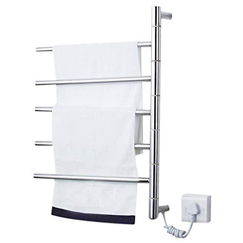 5-Bar Bad Handtuchheizkörper Elektrisch,Freistehend Wand Plug-In Handtuchwärmer Bad Rostfreier Stahl Handtuchhalter 45W Tragbar Wäscheständer