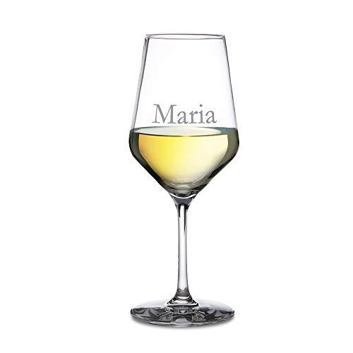 AMAVEL - Calice da Vino Bianco in Vetro - Incisione Personalizzata con [NOME] - Regalo di Natale o di Compleanno per Amanti del Vino - Idea Regalo per Lui e per Lei - Bicchieri da Collezione