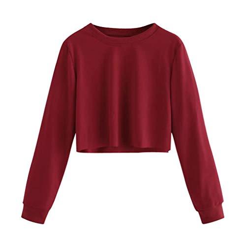 Geili Sweatshirt Damen,Frauen Langarm Sweatshirt Damen Mädchen O-Ausschnitt Solid Color Pullover Crop Tops Bluse T-Shirt Herbst Kurze Sportoberteile -