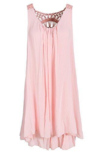 Sommerkleid mit Spitze am Rücken Tunikakleid knielang Lachs 38+40