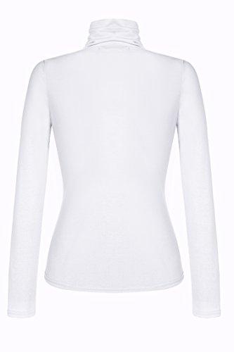Zeagoo Damen Rollkragen Basic Slim Fit Shirt Langarmshirt Top Bluse Weiß