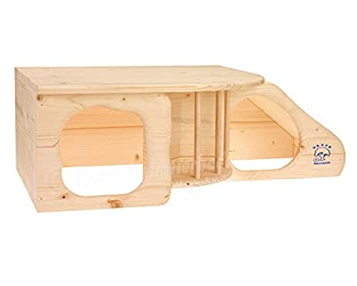 Resch No11 Rodent Cave XL Natural solid wood made of spruce / with stairs to the lying area / Integrated Hay Rack, two large Entrances and rounded corners by Resch Heimtierbedarf