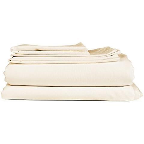 18Pollici Extra tasca profonda cotone egiziano 800fili Set di fogli tutte le dimensioni e colore, Tessuto, Ivory Solid, UK Single Long
