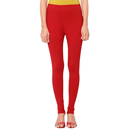 Cherry Leggings Blood Red For Women in 95 % Cotton and 5 % Lycra| Ankle Length | Free Size Comfortable Premium Quality | Ultra Soft Fabric | High Waist For Girls